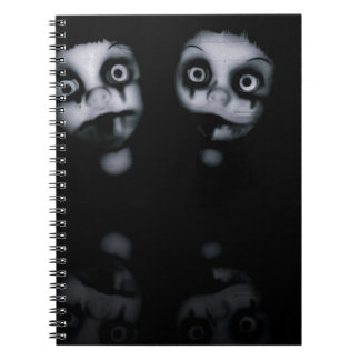 Terror twins haunted dolly product spiral notebook