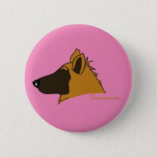 Tervueren head silhouette 2 inch round button