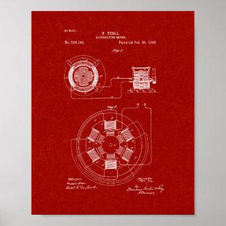 Tesla Alternating Motor Patent - Burgundy Red Poster