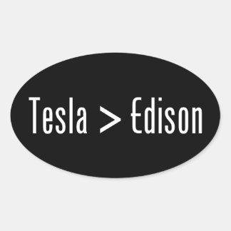 Tesla > Edison Oval Sticker