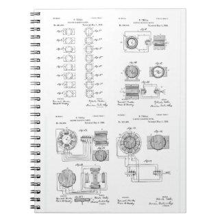 Tesla Elecro-Magnet Motor Patent US381968 p 1-4 Notebooks