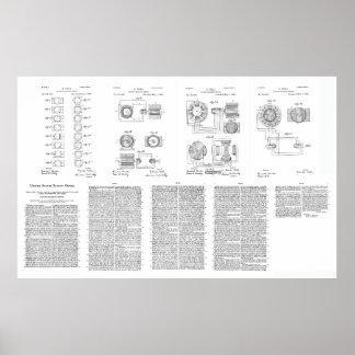Tesla Elecro-Magnet Motor Patent US381968 p 1-9 Poster