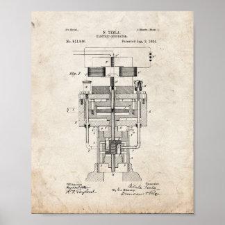 Tesla Electric Generator Patent - Old Look Poster