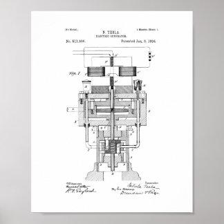 Tesla Electric Generator Patent Poster