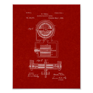 Tesla Electro-magnetic Motor Patent - Burgundy Red Poster