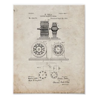 Tesla Electro Magnetic Motor Patent - Old Look Poster