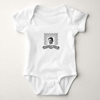 tesla in round baby bodysuit