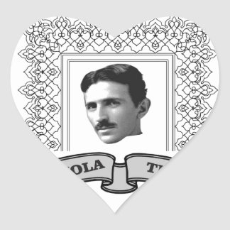 tesla in round heart sticker