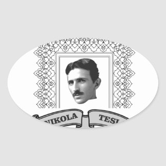 tesla in round oval sticker