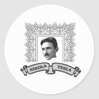 tesla in round round sticker