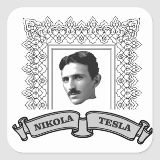 tesla in round square sticker