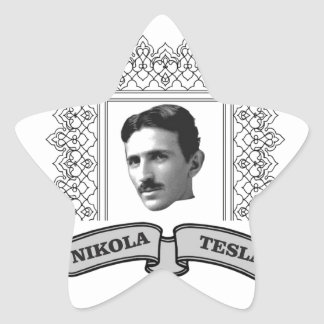 tesla in round star sticker