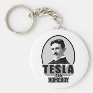 Tesla Is My Homeboy Basic Round Button Keychain