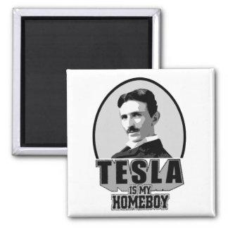 Tesla Is My Homeboy Square Magnet