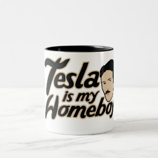 Tesla is my Homeboy Two-Tone Coffee Mug