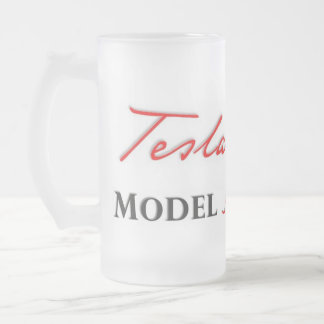Tesla Model S scripted on a Frosted Mug. Frosted Glass Beer Mug