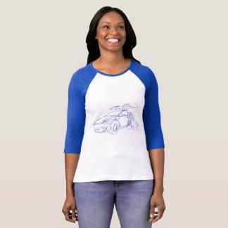"""Tesla Model X, Blue with Dog"" T-Shirt"