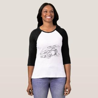Tesla Model X w/Dog, Black, 3/4 sleeve, Black T-Shirt