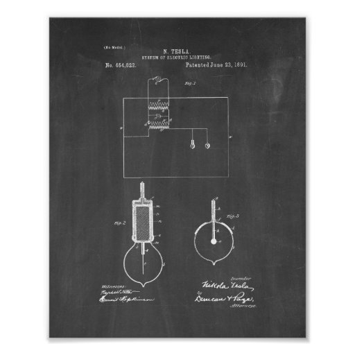 Tesla System Of Electric Lighting Patent - Chalkbo Poster