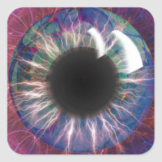 Tesla's Eye Fractal Design Square Sticker