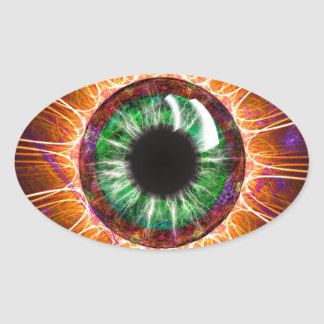 Tesla's Other Eye Fractal Art Oval Sticker