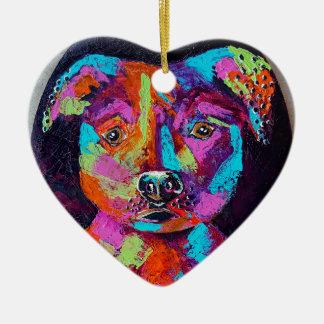 TESSA'S PITBULL CERAMIC HEART ORNAMENT