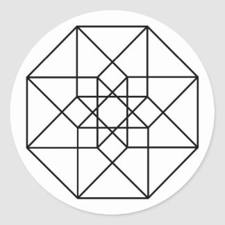 Tesseract (black outline) classic round sticker