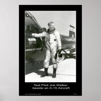Test Pilot Joe Walker beside an X-15 Aircraft Poster