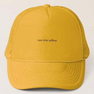 test site yellow trucker hat