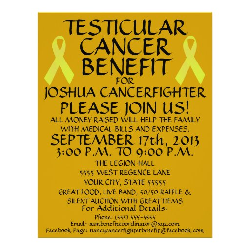 Testicular Cancer Ribbon Benefit Flyer
