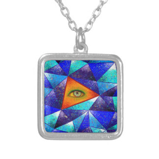 Tethrous V1 - watching triangle Silver Plated Necklace