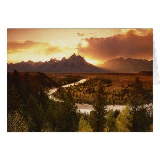 Teton Range at sunset, from Snake River Greeting Card