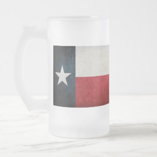 Texan Flag Frosted Glass Beer Mug