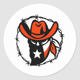 Texan Outlaw Texas Flag Barb Wire Icon Classic Round Sticker