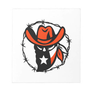 Texan Outlaw Texas Flag Barb Wire Icon Notepad