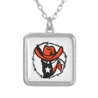 Texan Outlaw Texas Flag Barb Wire Icon Silver Plated Necklace