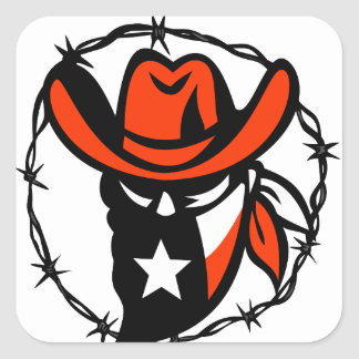 Texan Outlaw Texas Flag Barb Wire Icon Square Sticker