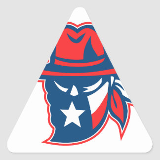 Texan Outlaw Texas Flag Mascot Triangle Sticker