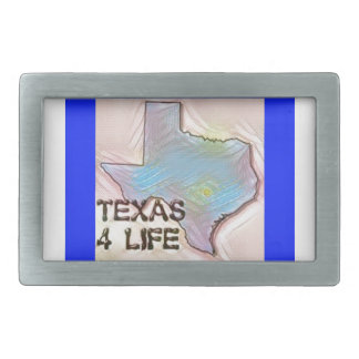 """Texas 4 Life"" State Map Pride Design Belt Buckle"