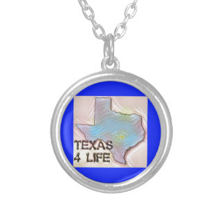 """Texas 4 Life"" State Map Pride Design Silver Plated Necklace"