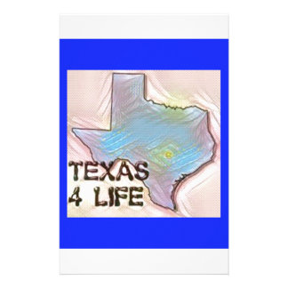 """Texas 4 Life"" State Map Pride Design Stationery"