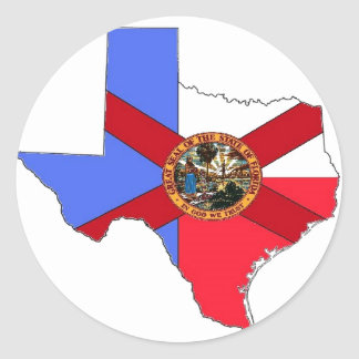 Texas and Florida Classic Round Sticker