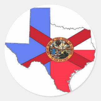 Texas and Florida Classic Round Sticker