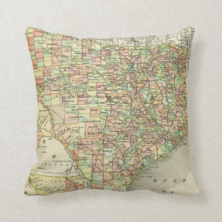 Texas Antique Map Colorful Lone Star State Alamo Throw Pillow