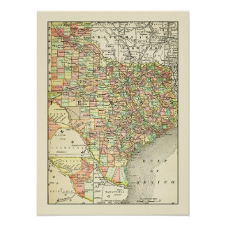 Texas Antique Map Towns & Counties Travel Poster