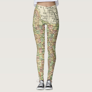 Texas Antique Map Travel State & Cities Leggings