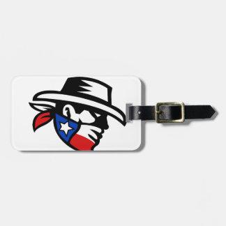 Texas Bandit Cowboy Side Retro Luggage Tag