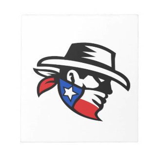 Texas Bandit Cowboy Side Retro Notepad