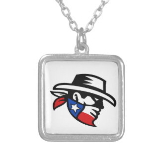 Texas Bandit Cowboy Side Retro Silver Plated Necklace