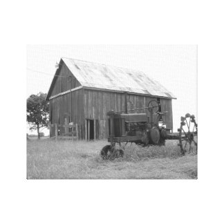 Texas Barn and Tractor Canvas Print